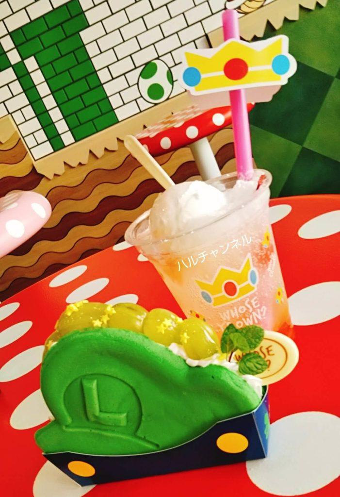 マリオカフェのルイージのパンケーキ&ピーチ姫のドリンク