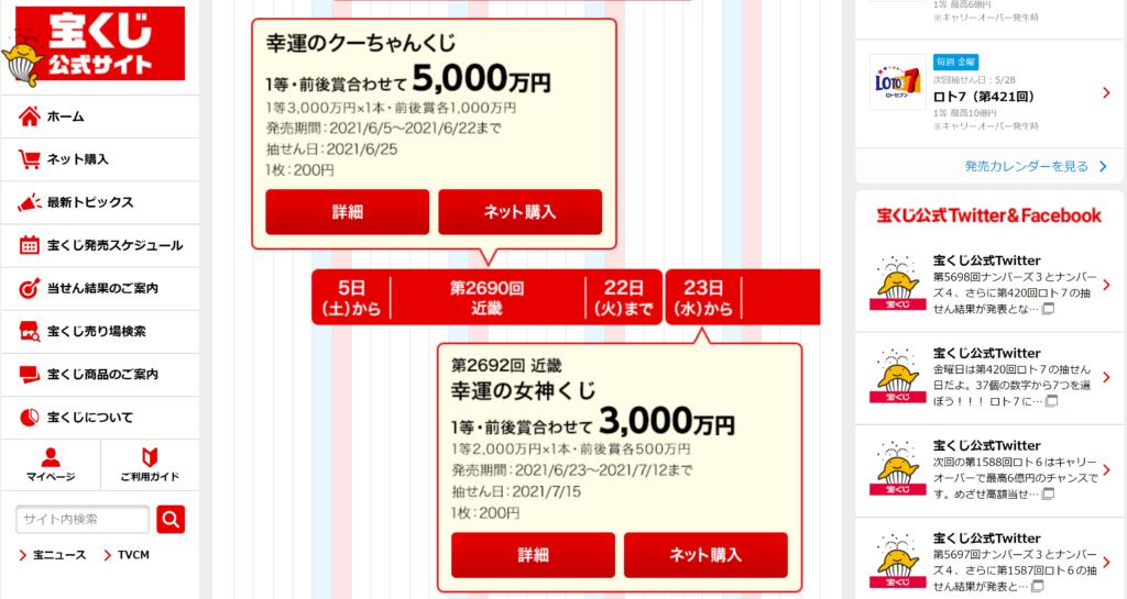 幸運のクーちゃんくじ(第2690回近畿)